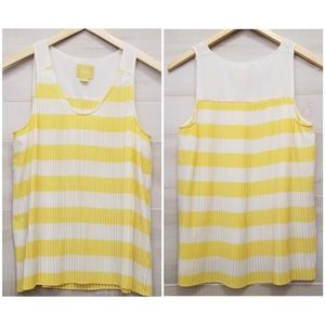 {10} Anthro Maeve Yellow Striped Pleated Tank